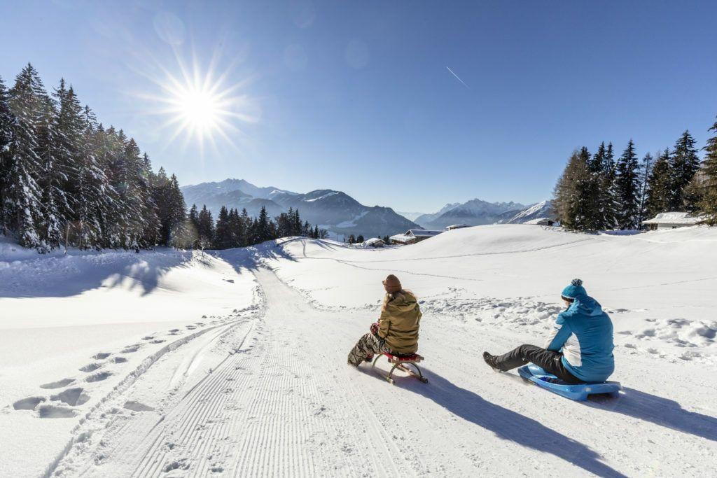 Schlittenfahrt im Skigebiet Alpbachtal